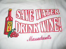 "Vintage ""SAVE WATER ... DRINK WINE - MASSACHUSETTS"" (MED) T-Shirt"