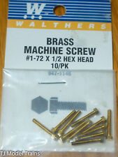 "Walthers #947-1146 (10)1-72 Brass Hex Head Machine Screws -- 1/2 x .073"" 1.27 x"