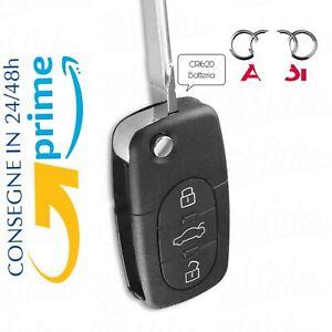 🇮🇹Guscio Chiave Cover Telecomando 3 Tasti CR1620 Auto PER AUDI SPEDIZIONE