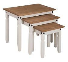 Mercers Furniture CORONA Painted Nest of 3 Tables - Cream / Pine
