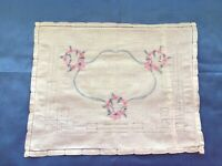 """Vintage Baby Pillow Cover Drawnwork Hand Embroidered 16"""" X 12 1/2"""""""