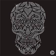 Skull Rhinestone Diamante Transfer Iron On Hotfix Crystal T Shirt Motif Applique