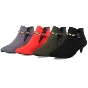 Women's Shoes Kitten Heel Ankle Boots Slip On Pumps Pointy Toe Wedding Plus Size