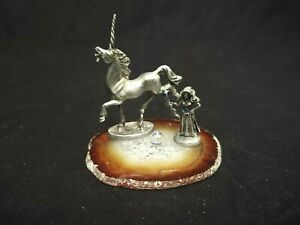 FANTASY PEWTER WIZARD UNICORN FIGURINES GLASS ORB & SLICE OF BROWN & WHITE ROCK