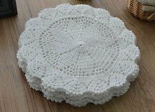 "Lot 4 Victorian White 10"" Round Crochet Doilies French Country Wedding Ornaments"