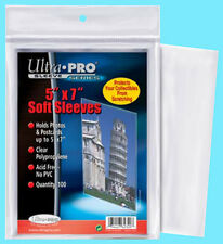 """100 ULTRA PRO 5""""x7"""" PREMIUM SOFT SLEEVES Fit Topload Photo Clear Poly No PVC 5x7"""