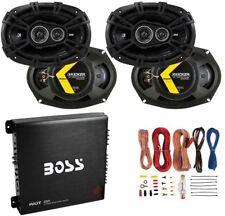 Kicker 6x9' 360W Car Speakers (4 Pack) + 1000W Amplifier + 8 Gauge Wiring