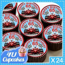 24 X HAPPY BIRTHDAY 65TH F1 RED CUPCAKE TOPPERS PRINTED ON EDIBLE ICING CC7285