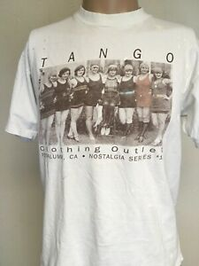 VTG 90s TANGO CLOTHING OUTLET PETALUMA CA 1930s WOMEN T SHIRT White DISTRESSED L