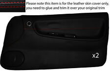 RED STITCHING 2X FULL DOOR CARD SKIN COVER FITS NISSAN S13 200SX 180SX 1988-1993