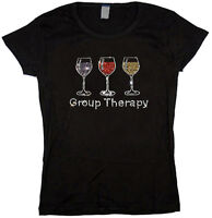 Ladies T-shirt Rhinestone funny wine glass design group therapy womens tee shirt