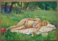 Russian Ukrainian Soviet Oil Painting Impressionism Nude Woman