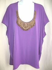 rafaella studio Fuchsia Slinky Jersey Stretch Top Wooden Bead Scoop Neck Sz 2X
