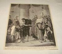 1880 magazine engraving ~ JESUS He Without Sin Cast First Stone
