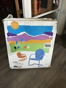 Rare New Art Deco Steel Metal Clam Shell Patio Bouncer Lounge Chair MCM Vtg