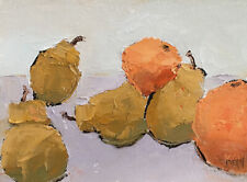 FOUR PEARS TWO ORANGES Still Life Fruit Oil Painting Knives 5x7 052919 KEN
