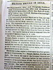 1857 newspaper w long detailed history of COLONIALISM by GREAT BRITAIN in INDIA