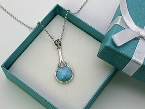 """Larimar Necklace 10mm Dominican Cabochon  925 Sterling Silver 18"""""""