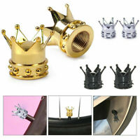 Gold Crown Alloy Car Wheel Tire Tyre Valve Dust Caps Covers Tire of 2 Deco Gift