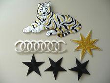 orig. 80er 90er Aufnäher Bügelbild Patch Nautischer Stern großer Tiger 6 Stück