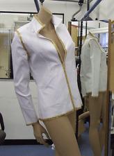 Joseph Ribkoff 10 BNWT Spectacular Stretch White, Gold Sequin Trim Zip-Up Jacket