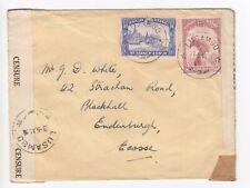 WW2 Belge Congo Lusambo 1941 - Elizabethville - Edinburgh Double Censor Cover