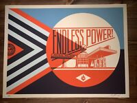 Shepard Fairey Obey Giant Endless Power Blue Art Print Poster Signed XX/350