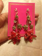 AMAZING VERSACE FOR H&M 2011 LIMITED ADDITION GOLD TONE ENAMEL FLOWER EARRINGS