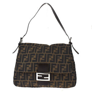 Authentic FENDI Zucca Pattern Shoulder Bag Nylon Leather Brown Italy 59MD645
