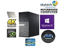 Fast Gaming Computer i7 4770 16GB RAM 120GB SSD 500GB HDD Nvidia 1050Ti 4K PC