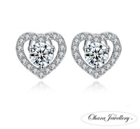 925 Solid Sterling Silver Cubic Zirconia Love Heart Stud Earrings Jewellery UK