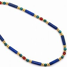 "Egyptian Lapis Tube and Turquoise & Carnelian Bead Necklace Gold-Plated 18"" Long"