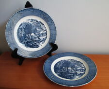 "Currier & Ives Dinner Plate x 2 Old Grist Mill 10"" Blue White Royal China USA"