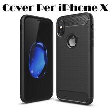 Cover Custodia Case per Apple iPhoneX Morbido Silicone TPU Nero Morbido