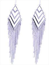 12cm Egyptian style silver coloured tassel chandelier earrings