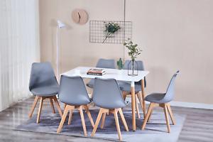 4er Set Esszimmerstühle Küchenstuhl mit Holzbeinen Wohnzimmer Mehrfarbig DE SHIP