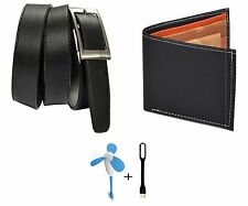 Combo of Black wallet and Black Belt with free USB Light and Fan