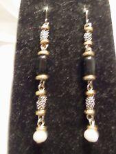 Silver & Gold Tone Findings w/ BLACK Glass & CREAMY Pearl Dangle Earrings 15E30