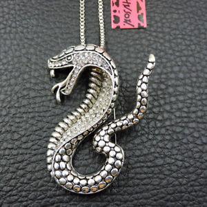 Betsey Johnson Rhinestone White Enamel Snake Pendant Chain Sweater Necklace