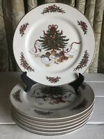 6 Country Christmas Tree Geese Duck Ribbon Jay Porcelain Dinner Plate Gold Trim