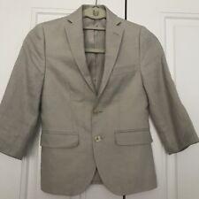EUC Lauren Ralph Lauren Boys 8R Khaki Beige Oatmeal 100% Linen Blazer Jacket