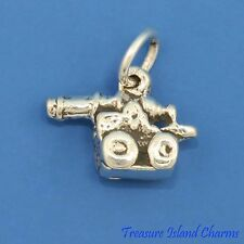 CANNON ARMY FIELD GUN MILITARY 3D .925 Sterling Silver Charm
