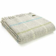TWEEDMILL 100% Wool Sofa Bed Blanket Rug WINDOWPANE STONE GREY TURQUOISE THROW