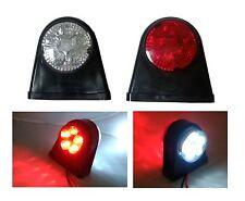 2 pc RED WHITE 12V LED OUTLINE INDICATOR MARKER LIGHTS LAMPS TRUCK TRAILER BUS
