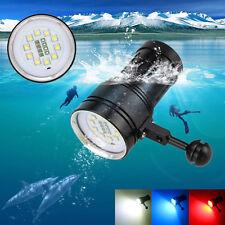 10x XM-L2+4x R+4x B 12000LM LED Photography Video Scuba Diving Flashlight Torch