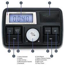 Motorcycle Handlebar Alarm MP3 USB SD FM Radio Stereo Amplifier Red Speaker