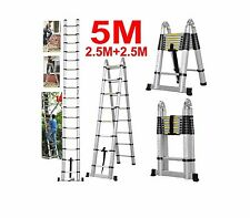 5M(16.FT) Multi-Purpose Folding Telescopic Aluminium A Frame Shape Ladder New