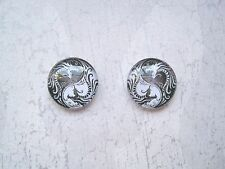 YIN YANG Chinese Dragon BLACK & WHITE 14mm Domed Glass Stud Earrings Pair of
