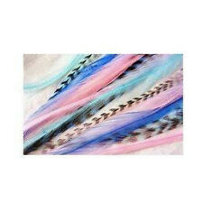 4-7 inch Mermaid Grizzly Remix 100% Real Hair 5 Feather Extensions bonded at the