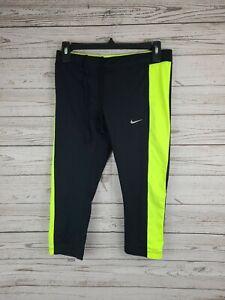 Nike Women's Size M Dri Fit Running Capri Pant Leggings Black Neon EUC
